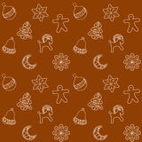 Christmas Ginger Bread Cookies Seamless Pattern, Vector Illustration Stock Images