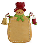 Christmas Ginger Bread Man. Christmas gingerbread man ornament on an isolated white background with room on chest for your own message and a clipping path Stock Image