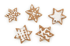 Christmas ginger cocoa cookies made by kid set of five Stock Images