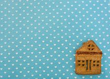 Christmas ginger cookies lying on a blue background stock photo