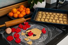 Christmas ginger cookies making still life Stock Images