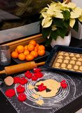 Christmas ginger cookies making still life. Still life photo of Christmas sweet ginger cookies making process, with dough and items Royalty Free Stock Photo