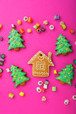 Christmas ginger cookies and mixed multicolored candy Stock Photo