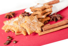 Christmas ginger cookies with spices Royalty Free Stock Photos