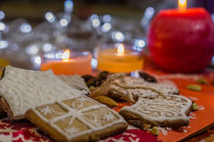 Christmas ginger cookies with white icing Stock Images