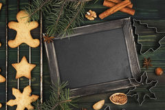 Christmas ginger gingerbreads with honey and cinnamon on a woode Stock Photo