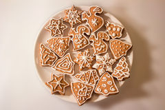 Christmas Ginger and Honey cookies on plate Royalty Free Stock Image