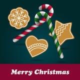 Christmas Ginger and Honey cookies. Star, flower, heart shape. Stock Image