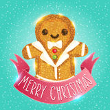 Christmas ginger man. Gingerbread vector. Holiday card royalty free illustration