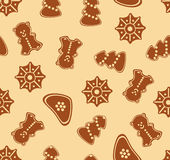 Christmas ginger seamless pattern Royalty Free Stock Images