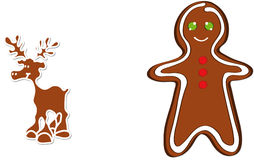 Christmas gingerbread. Vector illustration shows a Christmas gingerbread reindeer Royalty Free Stock Images