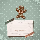 Christmas gingerbread. Christmas card gingerbread, vintage scrap paper background stock illustration