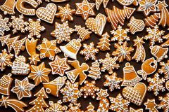 Christmas gingerbread background. On wooden table royalty free stock images