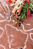 Christmas Gingerbread background dough, cookie spices cinnamon a Royalty Free Stock Photo