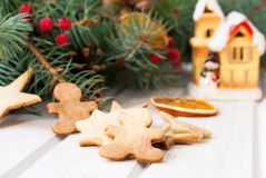 Christmas gingerbread on the background of fir branches and drie Royalty Free Stock Images