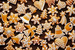 Christmas gingerbread background on wooden table. Top view royalty free stock photography