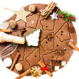 Christmas Gingerbread baking background dough, cookie cutters, s Royalty Free Stock Photos