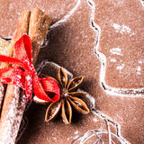 Christmas Gingerbread baking background dough, cookie spices cin Stock Images