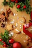 Baking christmas cookies. Christmas gingerbread and baking ingredients Stock Image