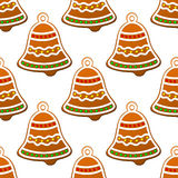 Christmas gingerbread bell seamless Stock Image