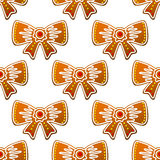 Christmas gingerbread bows seamless Stock Image