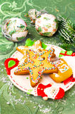 Christmas gingerbread, cakes. Tasty dessert on a holiday and Christmas decor Royalty Free Stock Photography