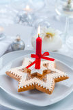 Christmas gingerbread candle Royalty Free Stock Photo