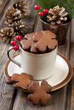 Christmas gingerbread in ceramic cup Royalty Free Stock Photography