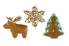 Christmas gingerbread- christmas tree, snowflake and reindeer Royalty Free Stock Photography