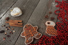 Christmas gingerbread cinnamon, Christmas decorations, tea, beads, Santas sleigh. Stock Image