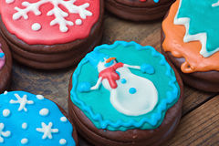 Christmas gingerbread coated with chocolate icing Royalty Free Stock Images