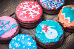 Christmas gingerbread coated with chocolate icing Stock Photography