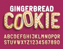 Free Christmas Gingerbread Cookie Alphabet Font. Cartoon Letters And Numbers With Shadow. Royalty Free Stock Photography - 170458447