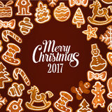 Christmas gingerbread cookie festive poster design Stock Images