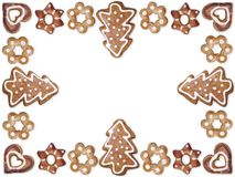 Christmas gingerbread cookie frame Royalty Free Stock Photos