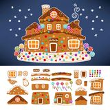 Christmas gingerbread cookie house constructor icons. Vector isolated cartoon ginger candy Santa house roof with caramel chimney and glaze snow windows for stock illustration