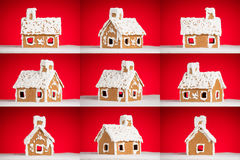 Christmas gingerbread cookie house with snow Stock Photography
