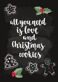 Christmas gingerbread cookie and modern calligraphy style holiday quote with holly. Royalty Free Stock Image