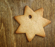 Christmas gingerbread cookie on old wood Stock Image