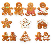 Christmas gingerbread cookie set. Isolated on white Stock Images