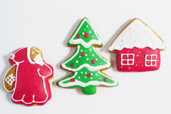 Christmas gingerbread cookie  on a white Royalty Free Stock Image