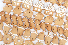 Christmas gingerbread cookies. Cottages, pigs, bells stock image