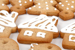 Christmas gingerbread cookies. Close up of Christmas gingerbread cookies stock photos