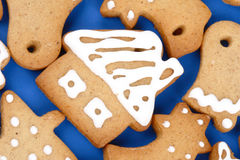 Christmas gingerbread cookies. Close up of Christmas gingerbread cookies royalty free stock photo