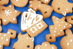 Christmas gingerbread cookies. Cottage, tree, star stock photos
