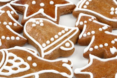 Christmas gingerbread cookies. Bell, star, tree stock photos