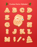 Christmas gingerbread cookies alphabet. Christmas greeting card background poster. Vector illustration. Merry christmas and Happy new year Stock Photography