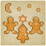 Christmas gingerbread cookies background. Vector illustration Royalty Free Stock Photography