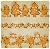 Christmas gingerbread cookies background. Vector illustration Stock Photography