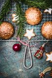 Christmas Gingerbread  and cookies backing. Top view Royalty Free Stock Photo